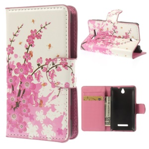 Pink Plum Design Stand Leather Wallet Case for Sony Xperia E Dual C1605 C1505