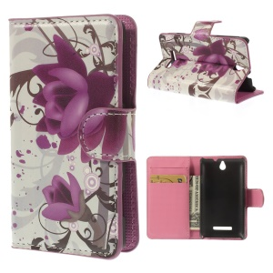 Beautiful Lotus Flower Wallet Leather Skin Case for Sony Xperia E Dual C1605 C1505