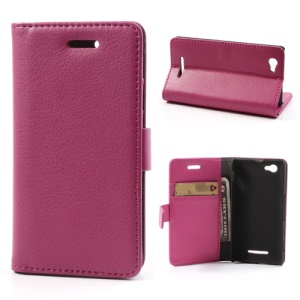 Litchi PU Leather Card Holder Case for Sony Xperia M C1904 C1905 C2004 C2005 - Rose