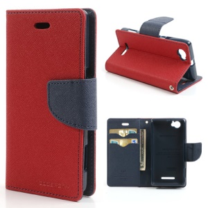 Mercury Goospery Fancy Diary Leather Magnetic Case for Sony Xperia M C1904 C1905 C2004 C2005 - Dark Blue / Red