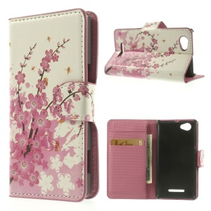 Pink Plum Design Stand Leather Wallet Case for Sony Xperia M C1905 C2004