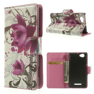 Beautiful Lotus Flower Wallet Leather Skin Case for Sony Xperia M C1905 C2004