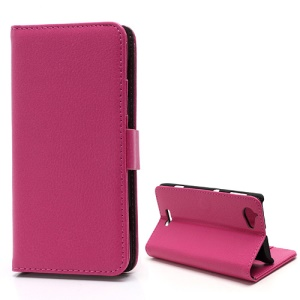 Lychee Grain Folio Wallet Leather Phone Case with Stand for Sony Xperia L S36h C2105 C2104 - Rose