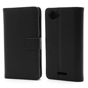 Black Magnetic Litchi Wallet Leather Stand Case for Sony Xperia L S36h C2104 C2105
