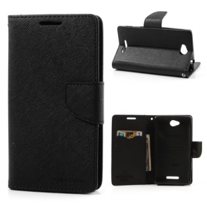 Mercury GOOSPERY Leather Wallet Case w/Stand for Sony Xperia C C2305 S39h - Black