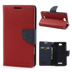 Mercury GOOSPERY Fancy Diary Wallet Leather Case for Sony Xperia C C2305 S39h - Dark Blue / Red