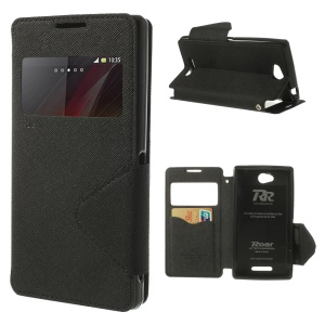 Roar Korea Diary View Window Leather Case Stand for Sony Xperia C C2305 S39h - Black