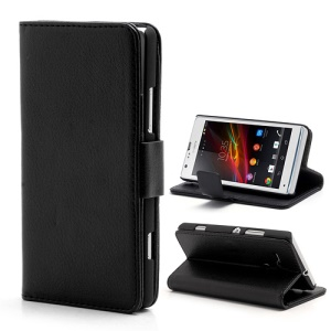 Litchi Leather Wallet Case Stand for Sony Xperia SP C5303 C5302 C5306 M35h - Black