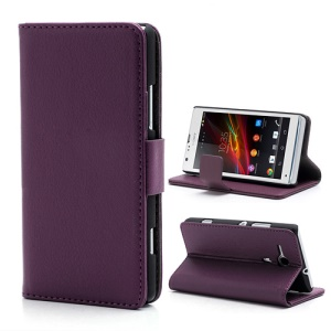 Litchi Leather Wallet Case Cover for Sony Xperia SP C5303 C5302 C5306 M35h - Purple