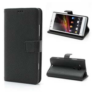 Black Lychee Texture Stand Leather Wallet Case for Sony Xperia SP C5303 C5302 C5306 M35h