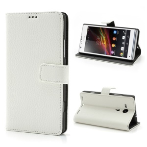 White Lychee Texture Wallet Leather Stand Case for Sony Xperia SP C5303 C5302 C5306 M35h