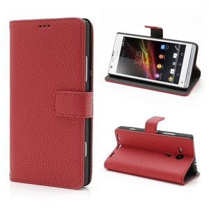 Red Lychee Texture Wallet Leather Case Cover Stand for Sony Xperia SP C5303 C5302 C5306 M35h