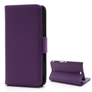 Purple For Sony Xperia ZR M36h C5503 C5502 Lychee Leather Folio Case Wallet Style with Stand
