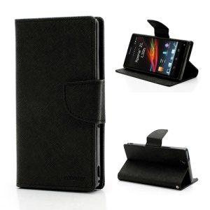 Mercury GOOSPERY Cross Leather Wallet Stand Case for Sony Xperia Z C6603 L36h - Black