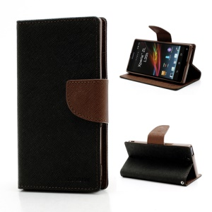 Mercury GOOSPERY Cross Leather Wallet Stand Case for Sony Xperia Z C6603 L36h - Brown / Black