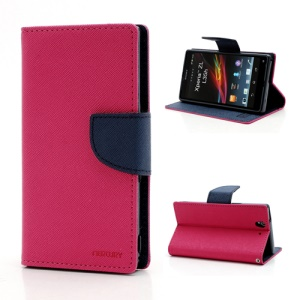 Mercury GOOSPERY Cross Leather Wallet Stand Case for Sony Xperia Z C6603 L36h - Dark Blue / Rose