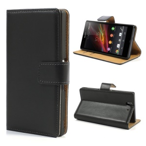 Black for Sony Xperia Z L36i C6603 Genuine Split Leather Case w/ Card Slot & Stand