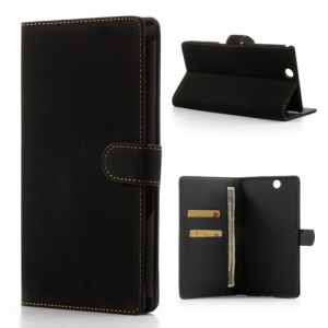 Antique Grain Leather Wallet Case Stand for Sony Xperia Z Ultra C6806 C6802 C6833 XL39h - Black