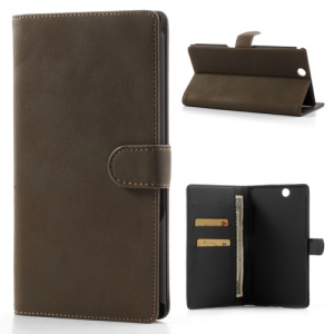 Antique Grain Leather Wallet Case Stand for Sony Xperia Z Ultra C6806 C6802 C6833 XL39h - Coffee