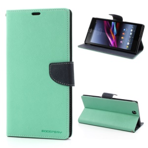 Mercury Goospery Fancy Diary Leather Magnetic Case for Sony Xperia Z Ultra C6806 C6802 C6833 XL39h - Dark Blue / Cyan