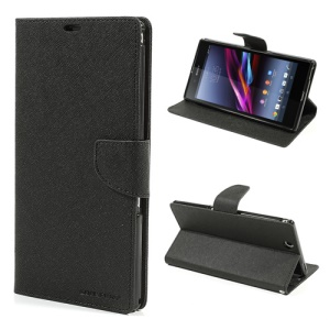 Mercury Goospery Fancy Diary Leather Magnetic Case for Sony Xperia Z Ultra C6806 C6802 C6833 XL39h - Black