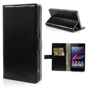 Black Crazy Horse ID Card Wallet Leather Case for Sony Xperia Z1 Honami C6903 C6902 C6943 L39h