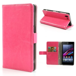 Rose Crazy Horse Card Slot Leather Cover for Sony Xperia Z1 Honami C6903 C6902 C6943 L39h