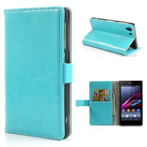 Blue Crazy Horse Folio Stand Leather Case for Sony Xperia Z1 Honami C6903 C6902 C6943 L39h
