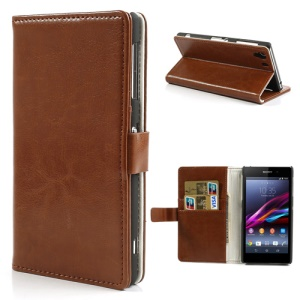 Brown Crazy Horse Stand Leather Wallet Case for Sony Xperia Z1 Honami C6903 C6902 C6943 L39h