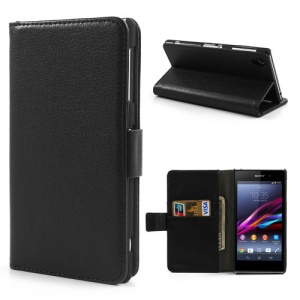 Lychee Leather Wallet Case for Sony Xperia Z1 Honami C6906 C6903 C6902 C6943 L39h - Black