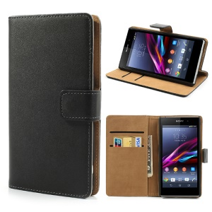 Black Premium Leather Wallet Case w / Stand para Sony Xperia Z1 Honami C6903 C6902 L39h