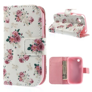 Bloomy Roses Protective Wallet Leather Stand Case for LG L40 D160