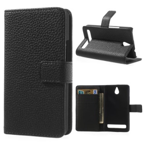 Black Lychee Skin Leather Card Holder Case w/ Stand for Sony Xperia E1 D2004 D2005 / E1 Dual D2104 D2105 D2114