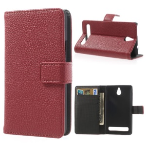 Red Lychee Skin Wallet Leather Case w/ Stand for Sony Xperia E1 D2004 D2005 / E1 Dual D2104 D2105 D2114