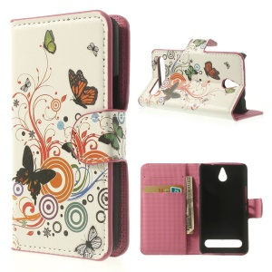 Vivid Butterfly Circle Leather Stand Cover for Sony Xperia E1 D2004 / E1 Dual D2104