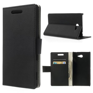 Litchi Flip Leather Cover Stand for Sony Xperia M2 D2303 D2305 D2306 / M2 Dual D2302 - Black