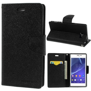 Mercury GOOSPERY Fancy Diary Leather Wallet Case w/ Stand for Sony Xperia M2 D2303 D2305 D2306 / M2 Dual D2302 - Black