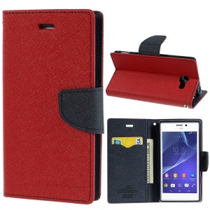 Mercury GOOSPERY Fancy Diary Wallet Leather Stand Case for Sony Xperia M2 D2303 D2305 D2306 / M2 Dual D2302 - Dark Blue / Red