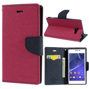 Mercury GOOSPERY Fancy Diary Wallet Leather Stand Cover for Sony Xperia M2 D2303 D2305 D2306 / M2 Dual D2302 - Dark Blue / Rose