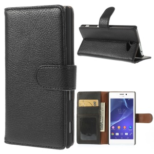 Black Lychee Skin Leather Wallet Case w/ Stand for Sony Xperia M2 D2303 D2305 D2306 / M2 Dual D2302