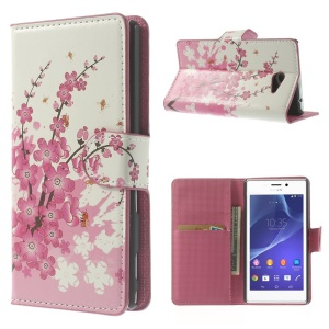 Cherry Blossom Leather Card Holder Cover for Sony Xperia M2 D2303 D2305 D2306 / M2 Dual D2302