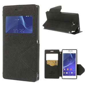 Roar Korea Diary View Window Leather Case for Sony Xperia M2 D2305 / M2 Dual D2302 - Black