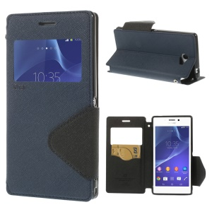 Roar Korea for Sony Xperia M2 D2305 / M2 Dual D2302 Diary View Window Leather Stand Case - Deep Blue