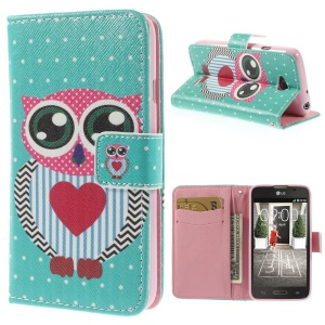 Adorable Owl Stand Leather Magnetic Case for LG L70 D320 D320N