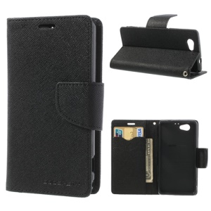 Mercury GOOSPERY for Sony Xperia Z1 Compact D5503 Fancy Diary Leather Case Stand - Black