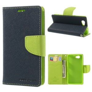Mercury GOOSPERY Fancy Diary Leather Shell Stand for Sony Xperia Z1 Compact D5503 - Green / Dark Blue