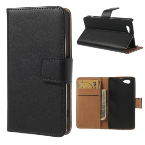 Genuine Split Leather Diary Case for Sony Xperia Z1 Compact D5503 - Black
