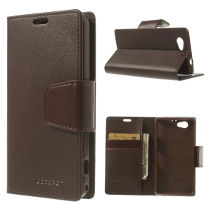 Coffee Mercury Goospery Sonata Diary Leather Card Holder Cover for Sony Xperia Z1 Compact D5503