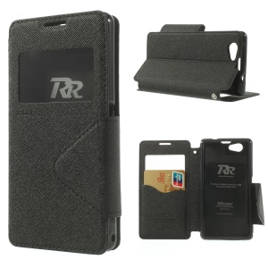 Roar Korea Diary View Window Stand Leather Case w/ Card Slot for Sony Xperia Z1 Compact D5503 - Black