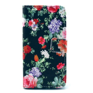 Purple Morning Glory Leather Wallet Cover w/ Stand for Sony Xperia Z1 Compact D5503